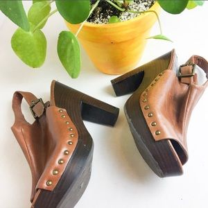 DV Dolce Vita Tan Leather Platform Clog Heels